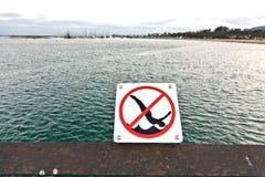 Jumping from  pier in Santa Barbara is forbidden Stock Photos