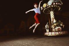 Jumping Pin Up Girl Stock Photos