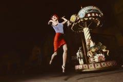 Jumping Pin Up Girl Stock Image