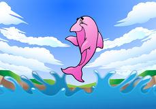 Jumping pink dolphin Royalty Free Stock Image