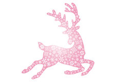 Jumping pink reindeer. Vector illustration of jumping pink reindeer on a white background Stock Image