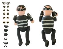 Jumping Plasticine thieve use for criminal concept. On white background royalty free stock photography