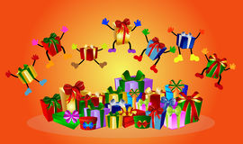 Jumping presents Stock Photos