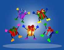 Jumping presents on blue background Stock Image