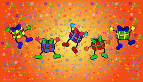 jumping presents on colorful background Stock Photo