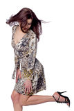 Jumping pretty girl Stock Photo