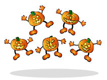 Jumping pumpkins Stock Image