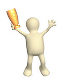 Jumping puppet with cup Stock Photo