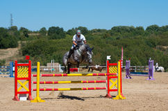 Jumping qualifier. Horse racing. Royalty Free Stock Photo
