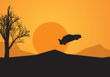 Jumping rally car in African desert. Vector image of a jumping rally car in Africa Royalty Free Stock Photos