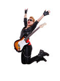 Jumping rocker girl stock photos