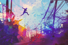 Jumping on the rooftop. Man jumping on the roof in city with abstract grunge,illustration painting Stock Photography