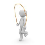 Jumping rope. A 3d character is jumping on the rope Stock Images