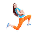 Jumping or running student girl with books Stock Image