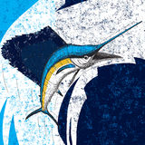 Jumping Sailfish. An Atlantic Sailfish over an abstract background. The sailfish and background are on separately labeled layers Stock Photos
