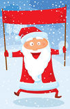 Jumping Santa. With red banner Royalty Free Stock Image