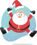 Jumping santa. Illustration of Santa jumping on the snow Royalty Free Stock Photos