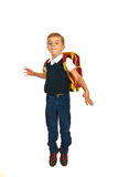 Jumping school boy Royalty Free Stock Images