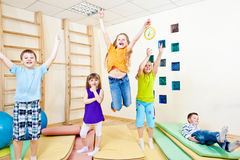 Jumping school students Stock Photography