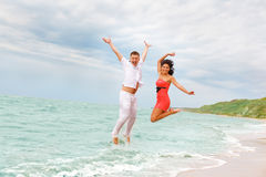Jumping in the sea Royalty Free Stock Photo