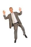 Jumping senior business man royalty free stock photo