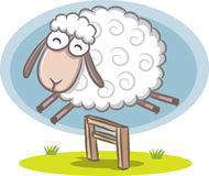 Jumping Sheep. Illustration of Sheep jumping over the fence Royalty Free Stock Photos