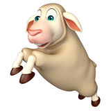 Jumping Sheep  cartoon character Royalty Free Stock Photography