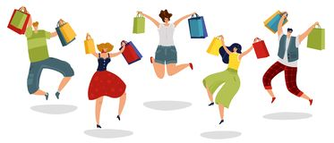 Jumping shopping people. Happy customers with gift bags supermarket men women shoppers in jump vector isolated concept. Jumping shopping people. Happy customers vector illustration