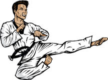 Jumping side kick. Drawing of a martial artist. With .eps/ version, shadows can easily be removed Stock Photography