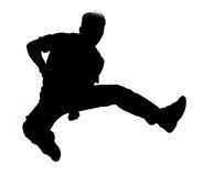 Jumping silhouette. Jumping boy silhouette Stock Photo