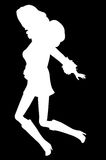 Jumping Silhouette. Silo of Go-Go type Dancer  silhouette dancing and jumping. Knee high boots on Royalty Free Stock Image
