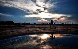 Jumping silhouette Royalty Free Stock Images