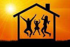 Jumping silhouette family house vector. Jumping silhouette family house vector Stock Image