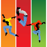 Jumping  silhouettes. Active  people jumping, hand drawn silhouettes Royalty Free Stock Photo