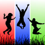 Jumping silhouettes Royalty Free Stock Images