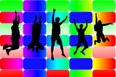 Jumping silhouettes Royalty Free Stock Photography