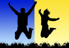 Jumping silhouettes. An illustrated view of black silhouettes of a boy and girl jumping against a blue and yellow background Royalty Free Stock Images