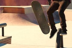Jumping on a skateboard royalty free stock photo