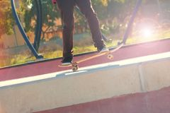 Jumping on a skateboard royalty free stock photos