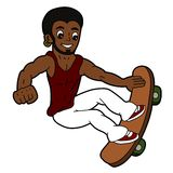 Jumping skateboarder cartoon Royalty Free Stock Photo