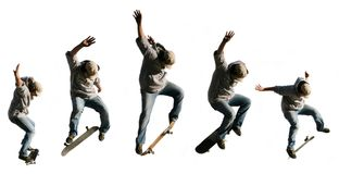 Jumping skateboarder serie Stock Images