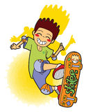 Jumping skater with his skateboard Royalty Free Stock Images