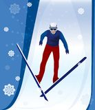 Jumping skier Royalty Free Stock Image