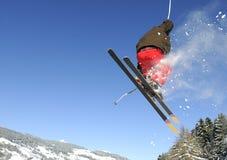 Jumping skier. Having fun in mountain in winter Stock Photos
