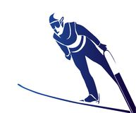 Jumping skier. Illustration of  the jumping skier Stock Photos