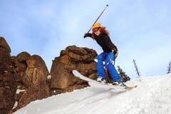 Jumping skier Royalty Free Stock Photos