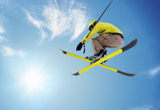 Jumping skier Royalty Free Stock Images