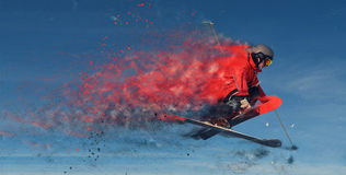Jumping skier design Royalty Free Stock Photo