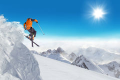 Jumping skier at jump Royalty Free Stock Photo