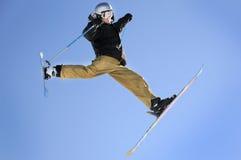 Jumping skiier royalty free stock photography